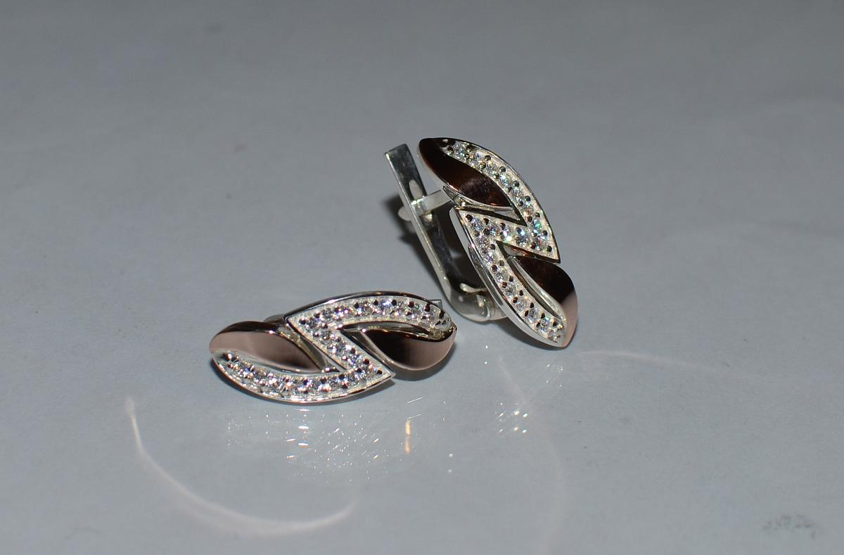 47f918ecd63b88 Срібні сережки з пластинами із золота купити, Срібні сережки з ...
