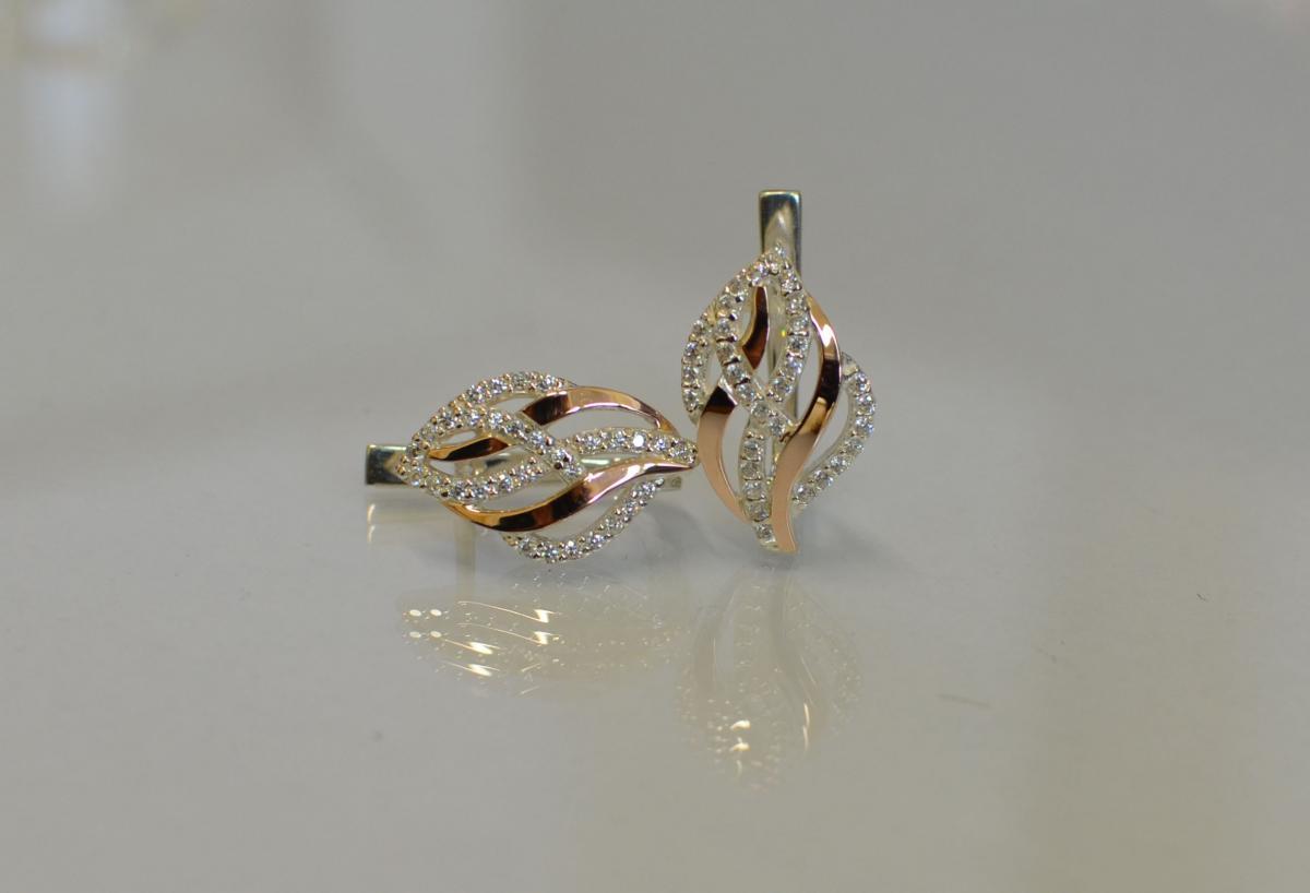 d01ec068d70382 Сережки зі срібла і золотими пластинами купити, Сережки зі срібла і ...