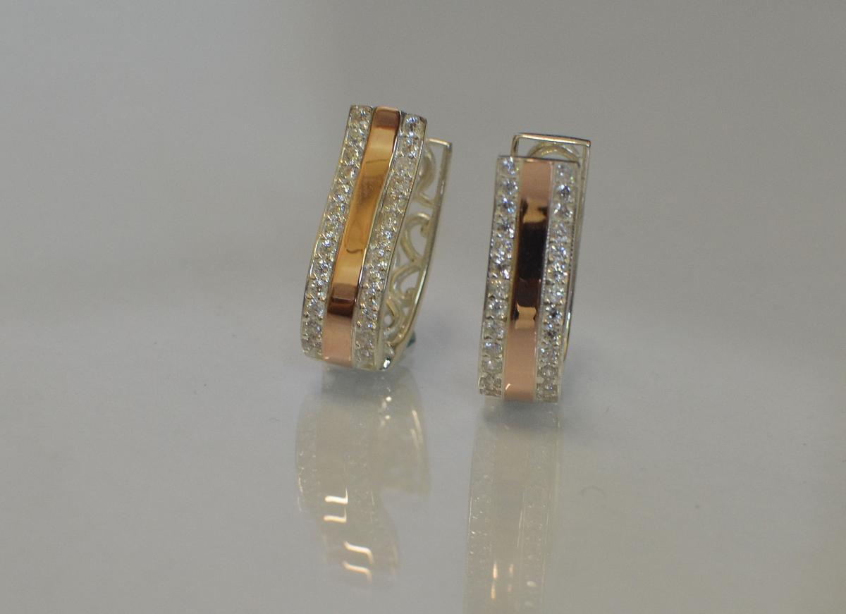 cac9f37a2a9ec1 Сережки срібні з пластинами із золота купити, Сережки срібні з ...